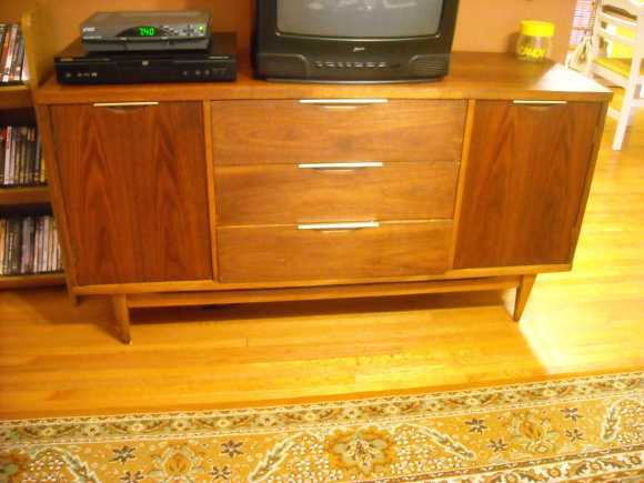 Vintage walnut veneer Danish credenza after refinishing