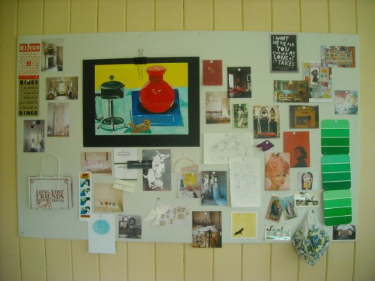 Inspiration board on Styrofoam insulation wrapped in linen