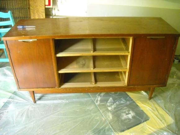 Vintage walnut veneer Danish credenza before refinishing