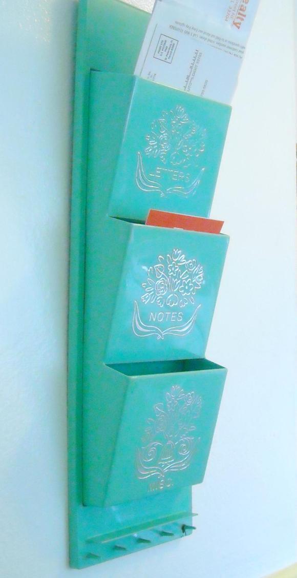 Vintage turquoise letter holder