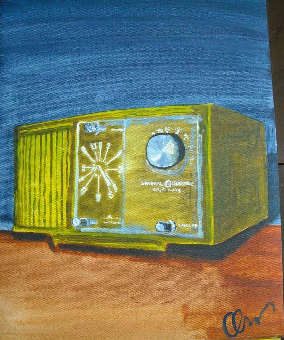 Acrylic vintage radio painting