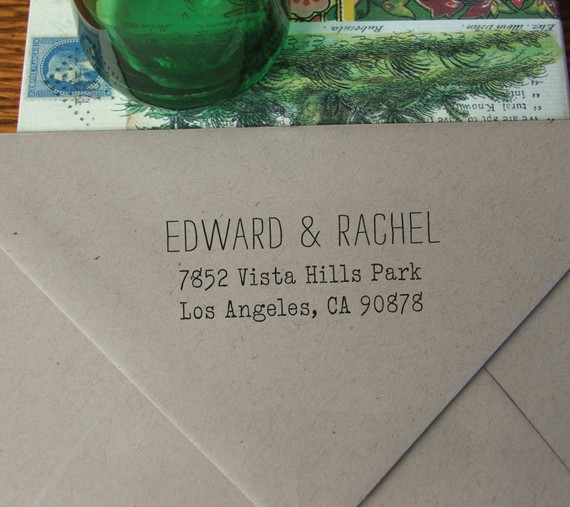 Custom wood-handle rubber return address stamp by NoteTrunk