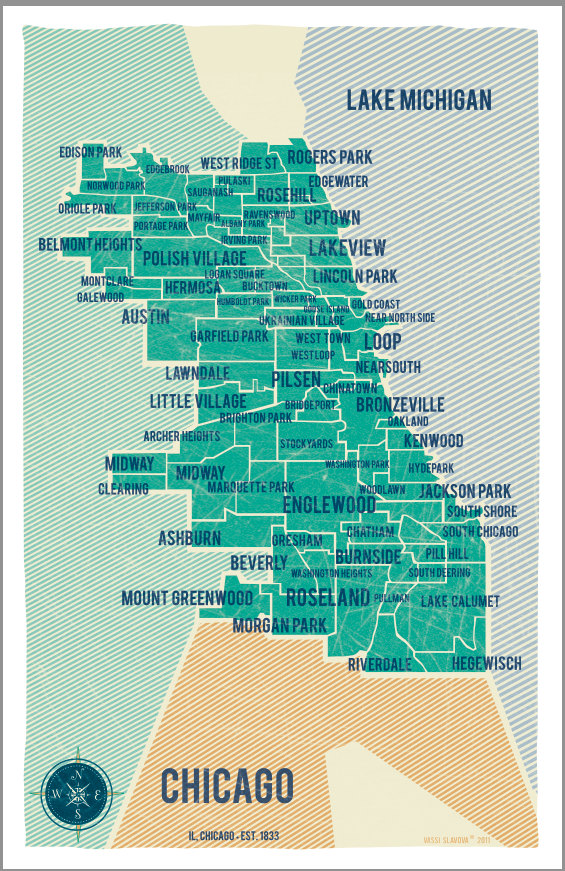 Off The Wall Hanging Out With Art - Chicago neighborhood map art