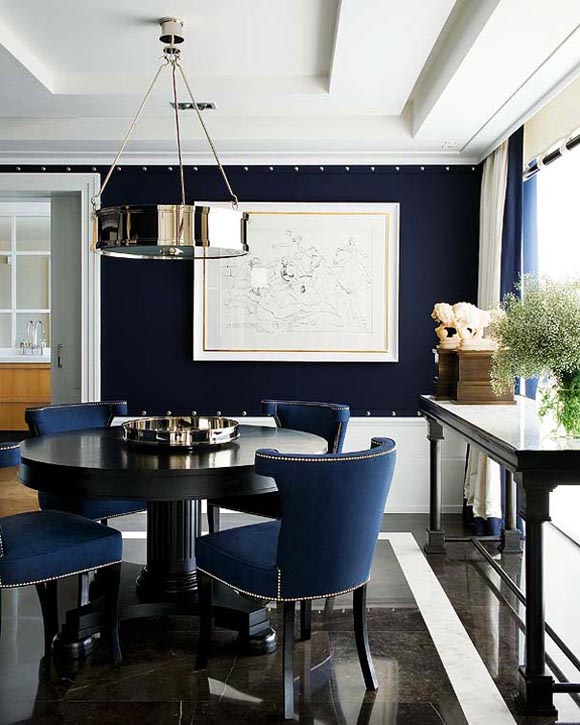 Dining rooms navy blue simple home decoration for Navy dining room ideas