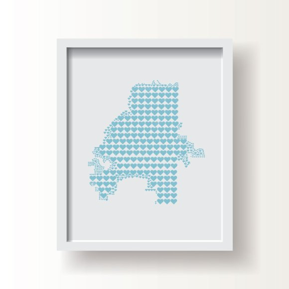 City map heart prints