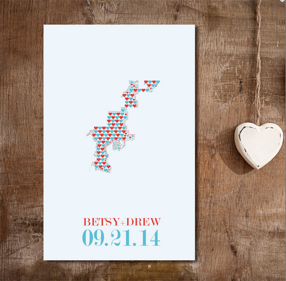 Wedding guest book alternative heart map from Franny & Franky Designs on Etsy