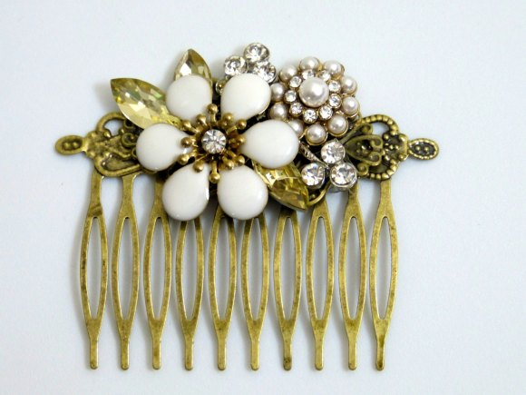 White Flower Bridal Hair Comb , Wedding Hair Piece , Crystal Rhinestone Wedding by Amy Alexander Designs
