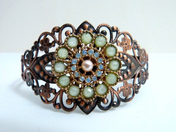 Cuff Bracelet , Sage Green Beaded Bracelet , Wedding Cuff , Peacock Bracelet by Amy Alexander Designs