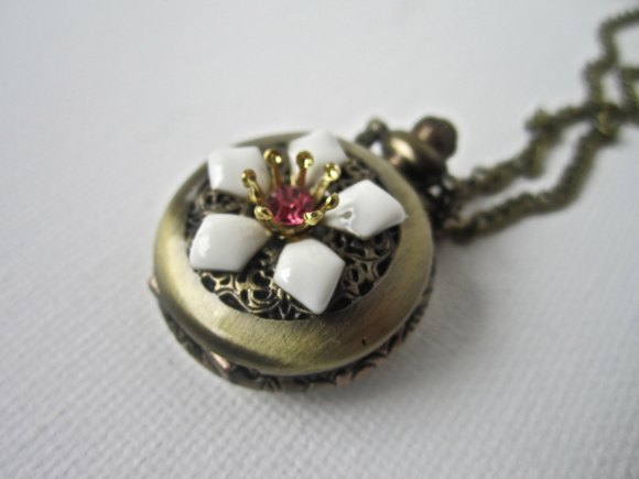 Antique Bronze Flower Pocket Watch Necklace Jewelry by Amy Alexander Designs