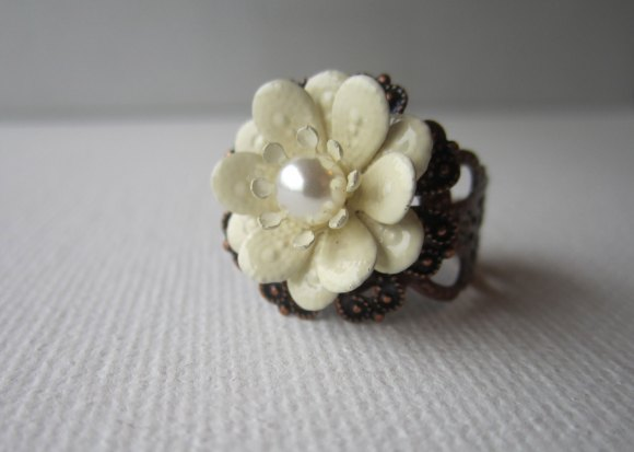 Bridal Ring, Ivory Wedding Ring, Flower Jewelry by Amy Alexander Designs