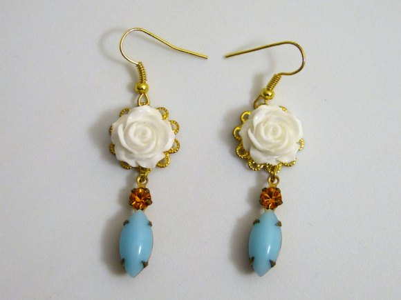 White Rose Wedding Earrings , Gold Plated Dangle Earrings , Turquoise and Topaz Bridal Accessories by Amy Alexander Designs