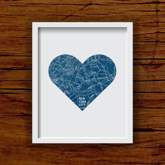 New York City road map heart art print at Franny & Franky Designs on Etsy