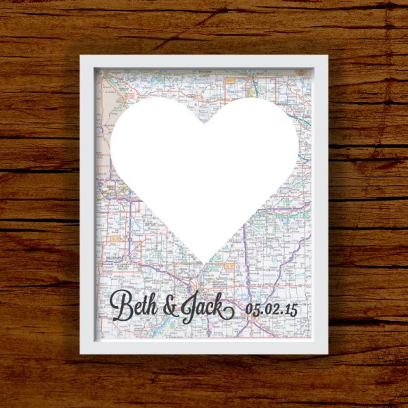Custom Wedding City Road Map Guest Book alternative art print at Franny & Franky Designs on Etsy